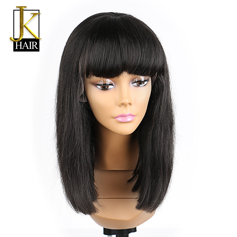 ... Glueless Lace Front Human Hair Wigs For Women Black Color Blunt Bob Wig  With Full Bangs ... 69f52c048