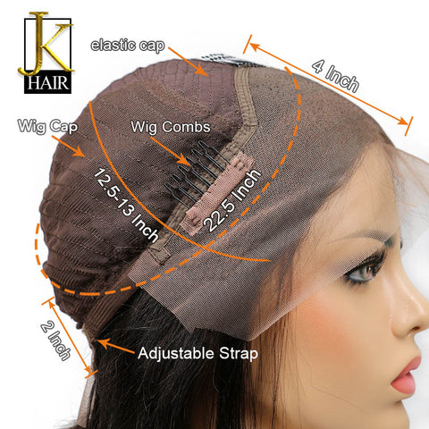 Glueless Lace Front Human Hair Wigs For Women Black Color Blunt Bob Wig With Full Bangs Remy Brazilian Straight Bleached Knot JK