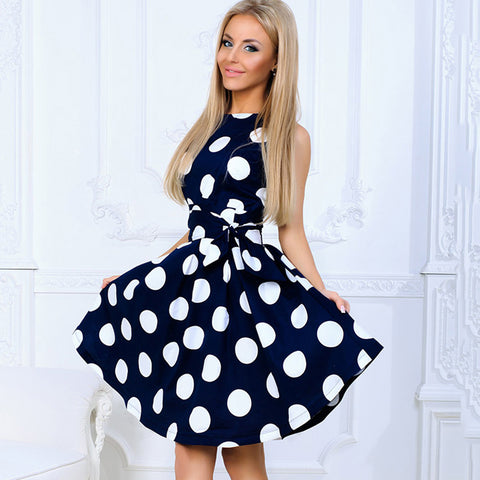 Fashion Elegant Dot Printing Summer Dress Women Sleeveless O-neck Sweet Casual A-Line Dress Mini Dresses - Style Lavish