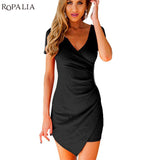 Women Slim Fitted Bodycon Mini Dress Wrap Dress Evening Party Mini Dress