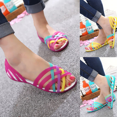 Women Sandals Summer New Candy Color Women Shoes Peep Toe Stappy Beach Rainbow Croc Jelly Shoes Woman Flats XC34