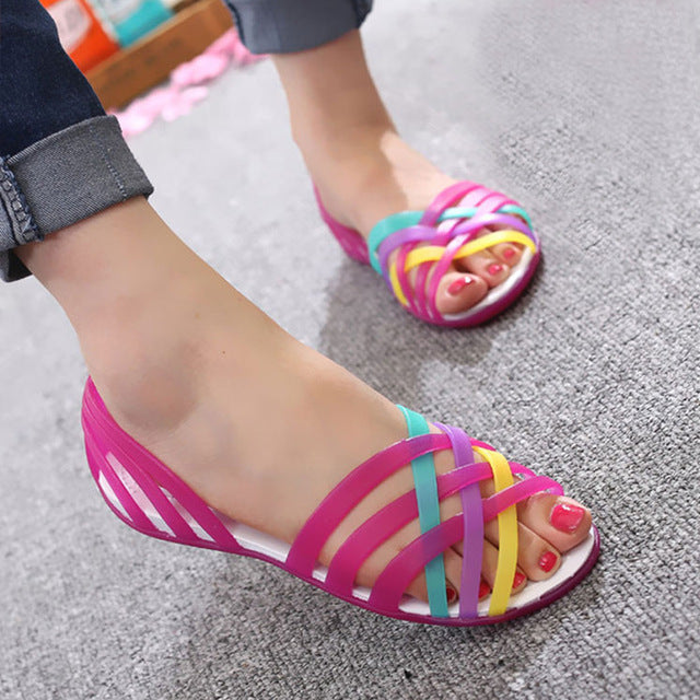0d958ce65c352 ... Women Sandals Summer New Candy Color Women Shoes Peep Toe Stappy Beach  Rainbow Croc Jelly Shoes ...