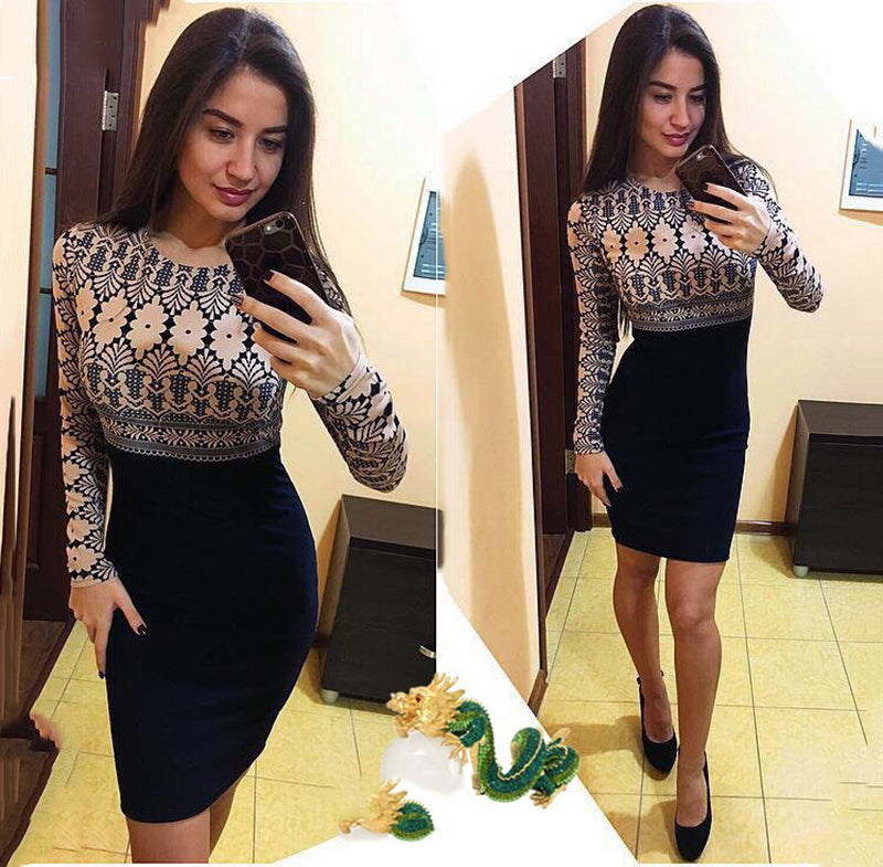 Spring Women Casual O-neck Long Sleeve Slim Sheath Dresses Fashion Ladies Elegant Print Dresses Sexy Bodycon