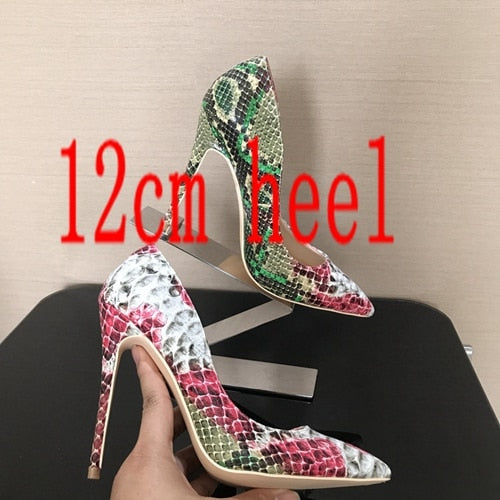 Woman Spring Shoes High Heels Women Pumps Shoes Snake Printed beige bottom