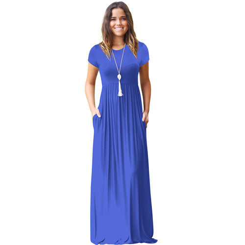 6294ec7597d ... Casual Long Summer Dresses For Women Short Sleeve Pocket Floor Length Maxi  Dress Women O Neck ...