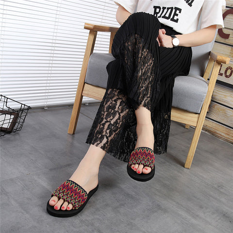 Women National Style Summer Sandals Slipper Woman Indoor Outdoor Flip-flop Beach Shoe