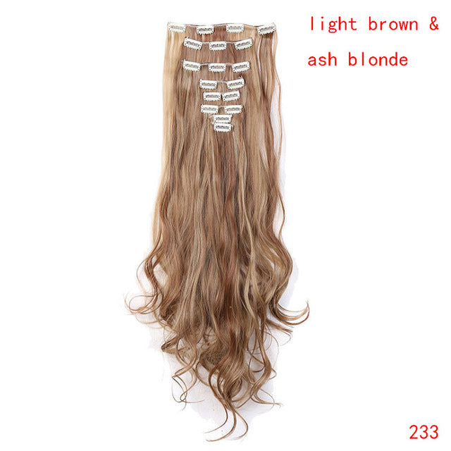 24inch 8pcs/set curly 18 Clips in False Hair Styling Synthetic Hair Extensions Hairpiece Cosplay Extension for Human - Style Lavish
