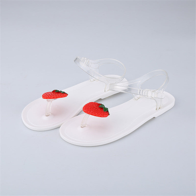 Women  Style Sweet Jelly Shoes Sandals Flat Summer  Woman Casual Flats Shoes sandals Fruit Summer Beach Shoes