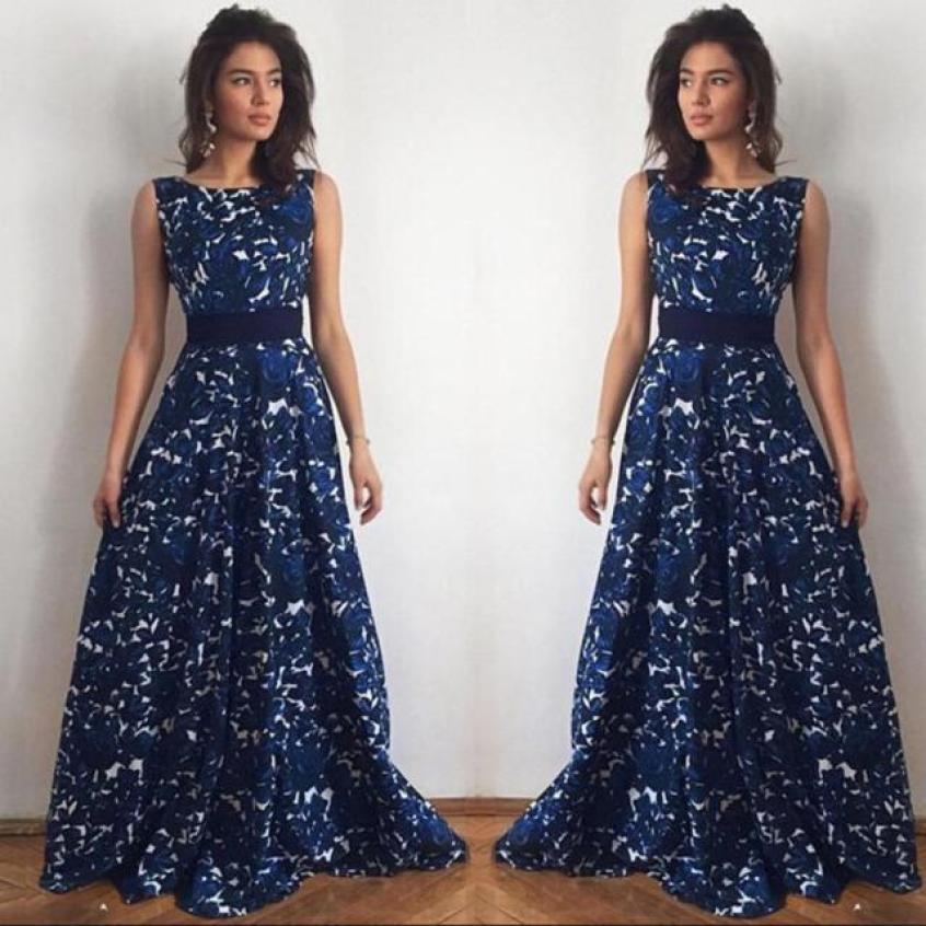Dresses Formal Women Floral Vintage Vestido longo Belted Dress Party Gown - Style Lavish
