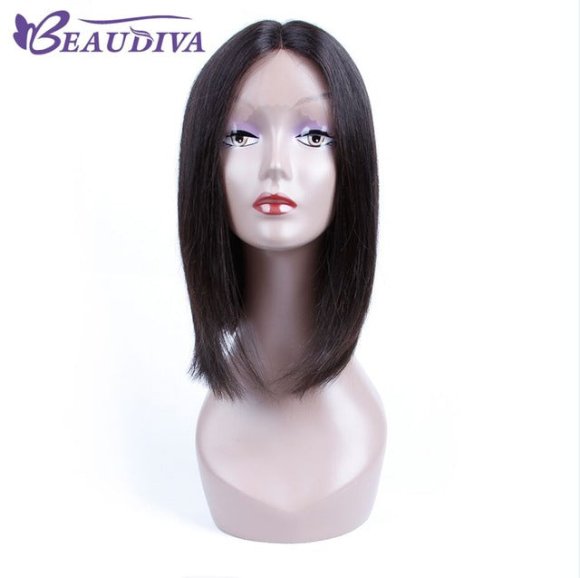 Beaudiva Short Bob Wigs Brazilian 100% Human Hair Straight Lace Front Human Hair Wigs For Charming Women Natural Color - Style Lavish