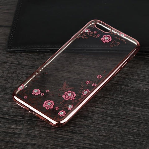 Fashion Luxury Secret Garden Flowers Rhinestone Cell Phone Case Women Phone cover Case For iphone 8 7 6 6S Plus 4 4s 5 5S SE - Style Lavish