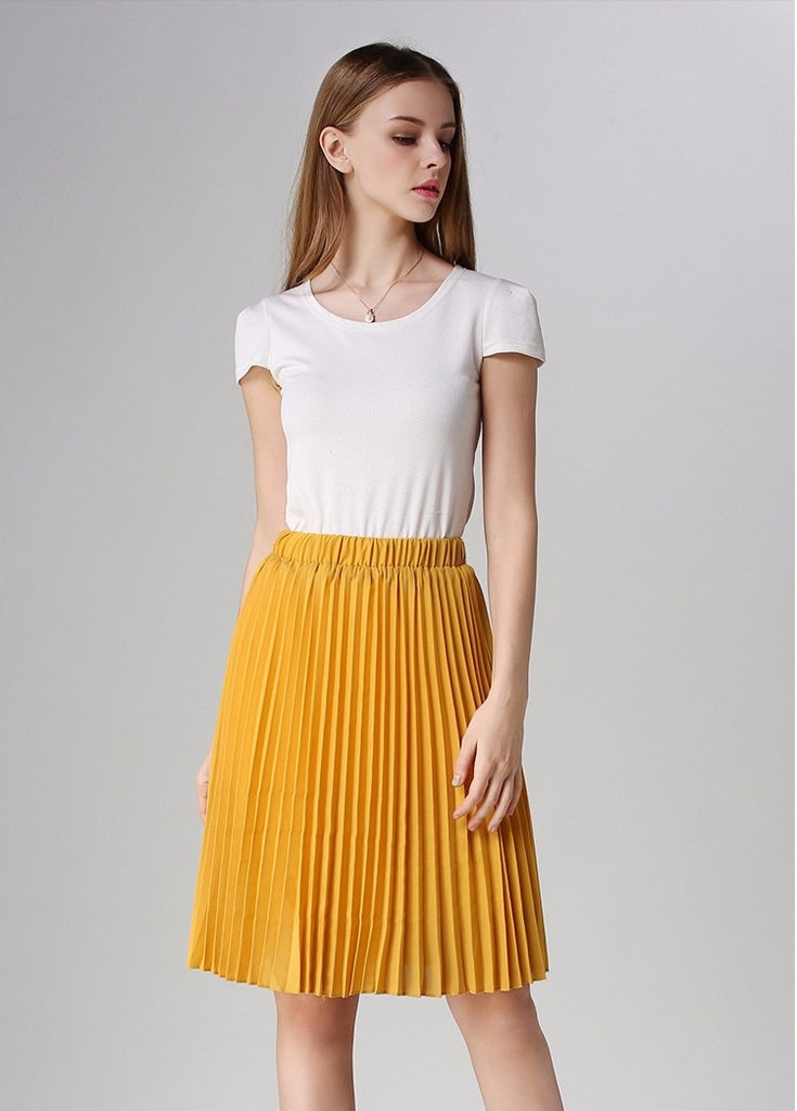 b2098eef0 Women Chiffon Pleated Skirt Vintage High Waist Tutu Skirts Women Saia