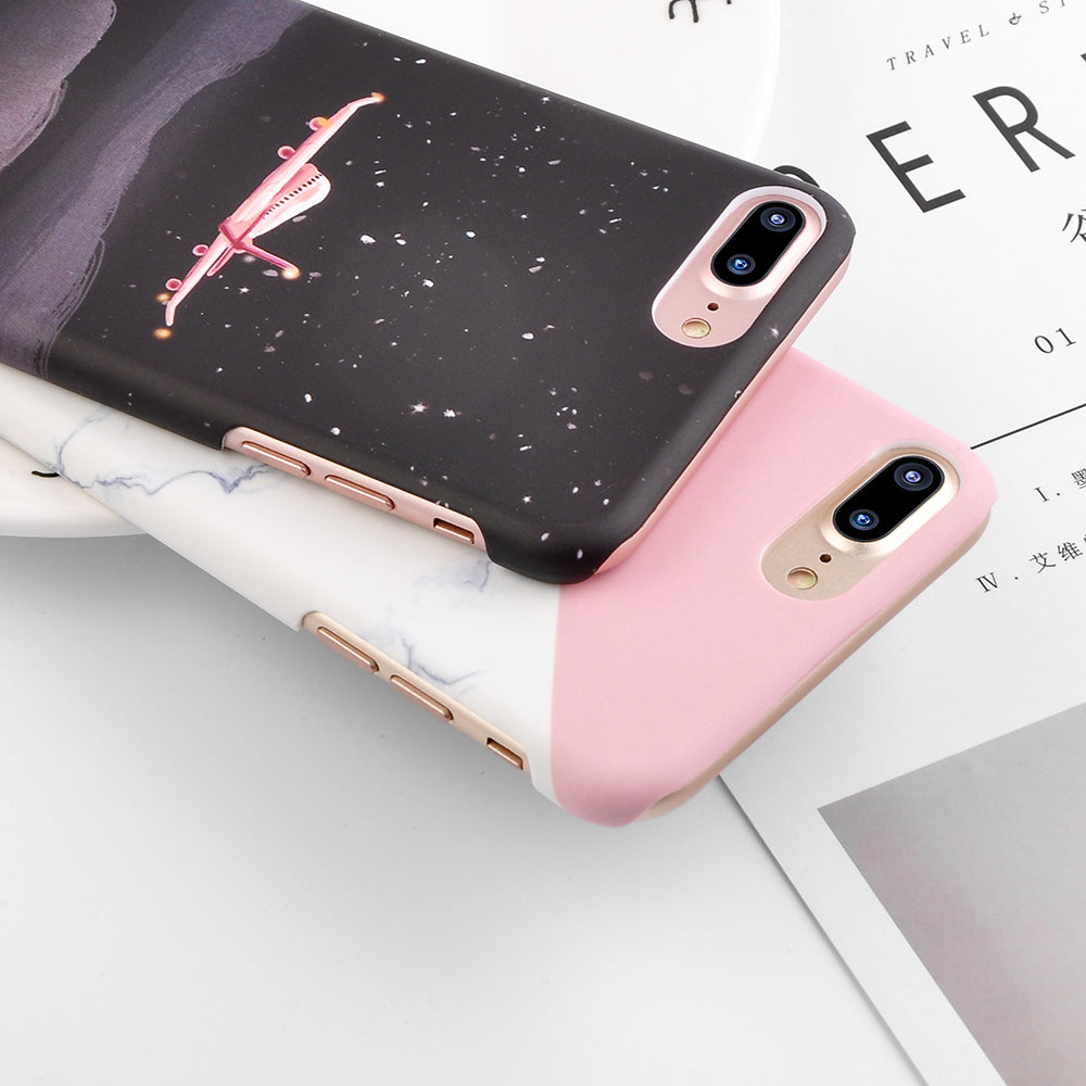 super popular e6c14 1a6a7 Granite Scrub Marble Phone Cases For iPhone 6 6S 7 Plus 5 5S SE 3D Aircraft  Stars Plastic Hard Back Cover Case for iPhone 8 Plus
