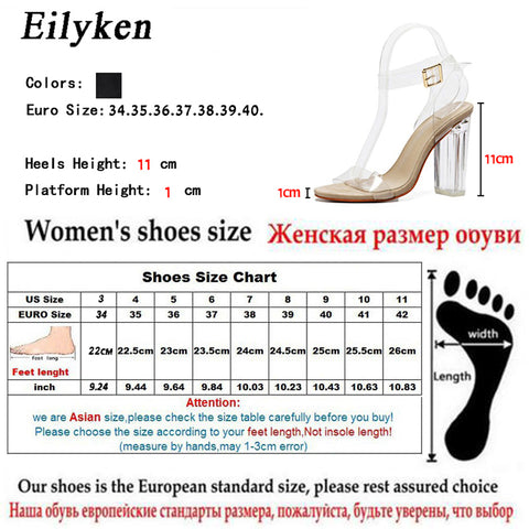 Jelly Sandals Open Toe High Heels Women Transparent Perspex Slippers Thick Heel Clear Sandals