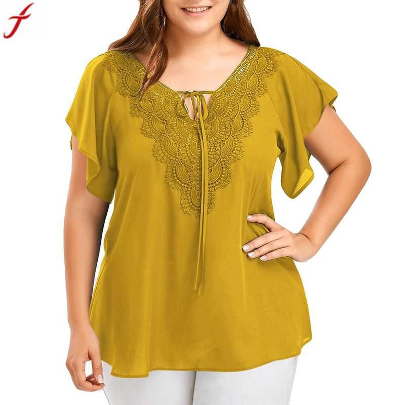 bba3d196aba4fe ... Summer Tops Women Fashion Front Lace up Blouse V Neck Bat Short Sleeve  Tunic Shirt ...