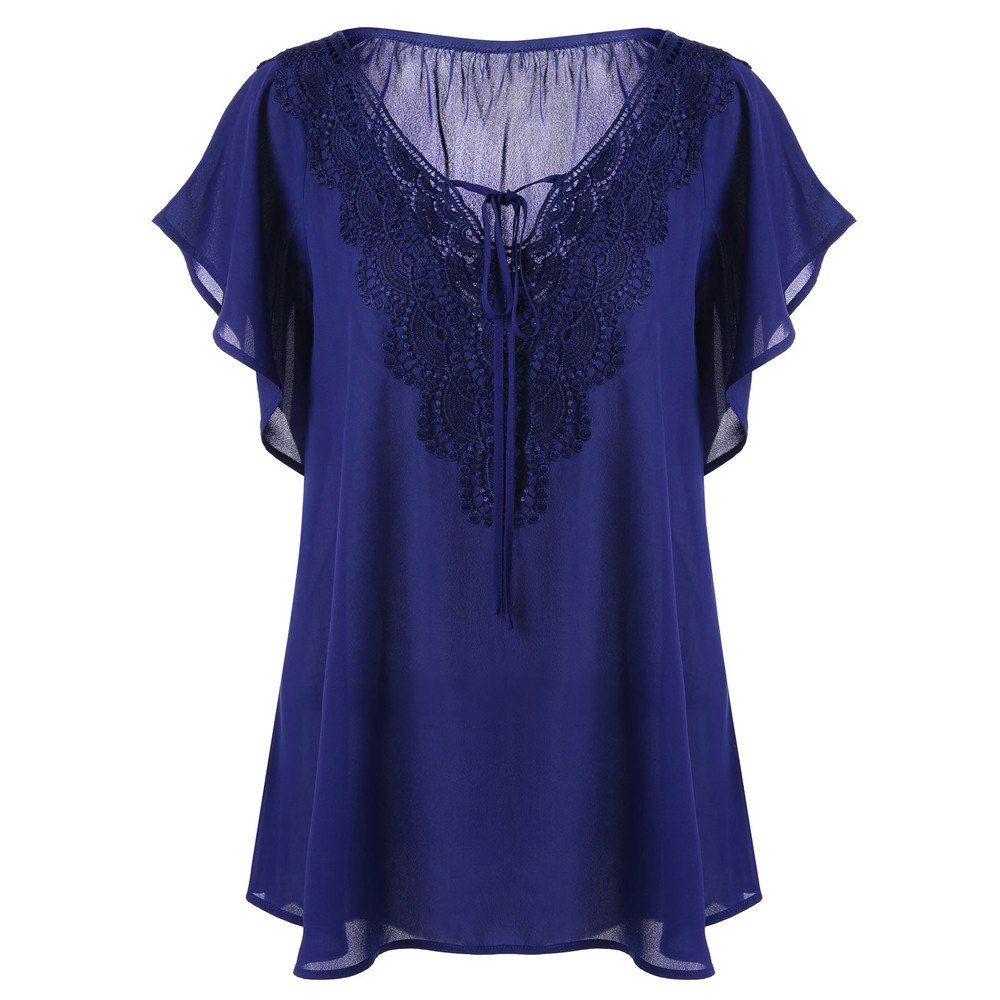 Summer Tops Women Fashion Front Lace up Blouse V Neck Bat Short Sleeve Tunic Shirt