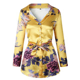 Retro Floral Print Notched Dress Women Summer Long Sleeve Split Bodycon Robe Belt Vintage Dresses