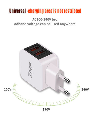 ZNP LED Light EU USB 2 Port Charger 2.4A Universal Safe Fast Charger Adapter For iPhone Xiaomi Charger For Samsung Huawei