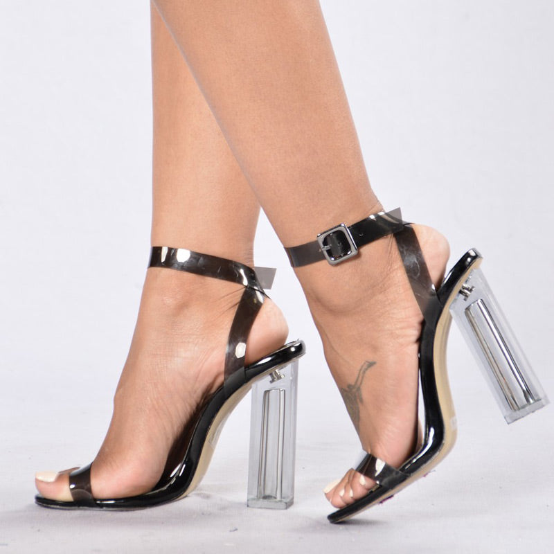 bc213d7a505 11cm Summer Women Sandals PVC Block High Heel Crystal Clear Transparent  Sandals Concise Buckle Ankle Straps Pump Wedding Shoes