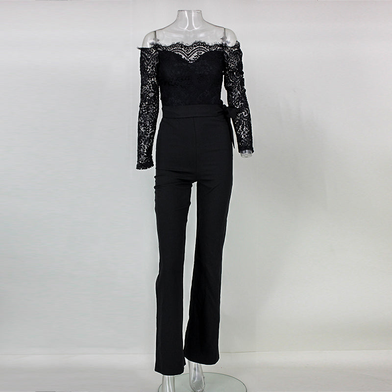 Elegant Off The Shoulder Lace Women Jumpsuit Black Long Sleeve Fitted Sexy Romper Backless Playsuit - Style Lavish