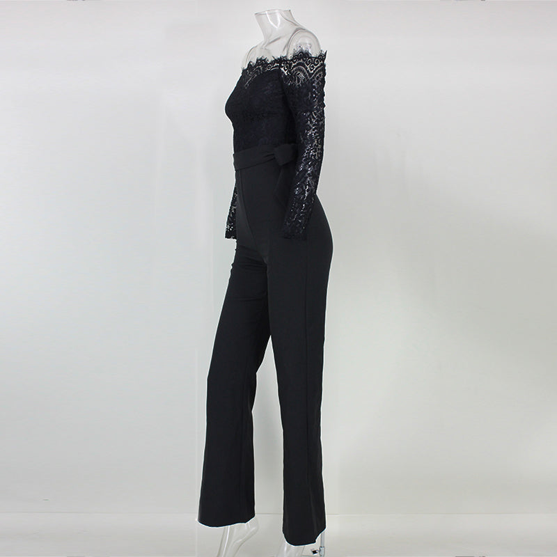 9c78e21fd49 ... Elegant Off The Shoulder Lace Women Jumpsuit Black Long Sleeve Fitted  Sexy Romper Backless Playsuit ...