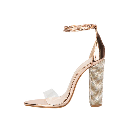 Women Heeled Sandals Bandage Rhinestone Ankle Strap Pumps Super High Heels 11 CM Square Heels Woman Shoes