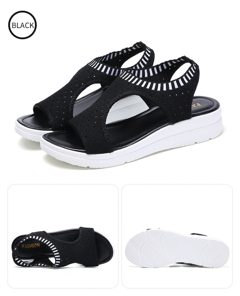 Women Sandals Shoes Woman Summer Wedge Comfortable Sandals Ladies Slip-on Flat Sandals