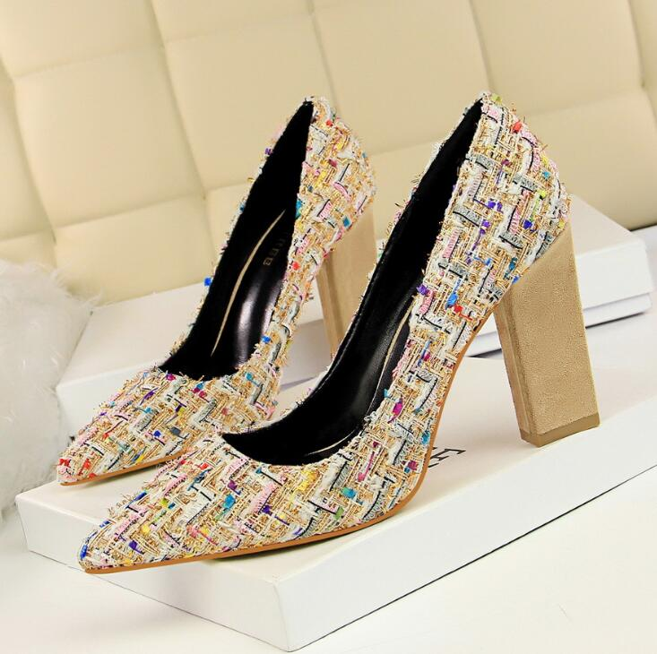 Heel Pumps Dress High With Color Footwear Women Thick Wedding Brand Shoes Sexy Spell Fashion CoeEdxQrBW