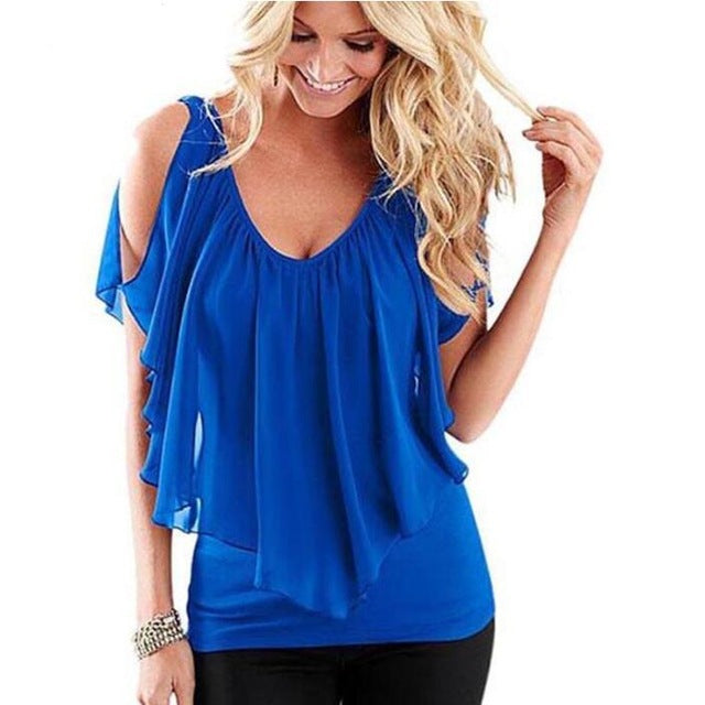 Ruffles Women Tops Fashion Women Summer Chiffon Blouse Short Sleeve Casual Shirt