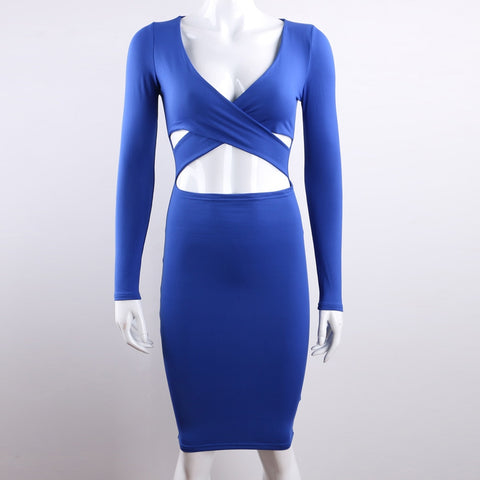 Long Sleeve Elastic Cotton Warm Party Dresses Midi Pencil Bodycon Bandage Dress
