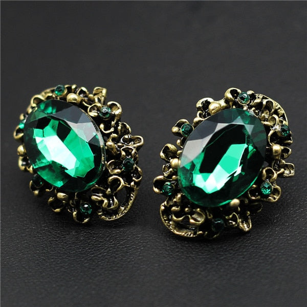 7d8bc628e9769 Fashion Wedding Accessories Antique Bronze Vintage Green Big Stone Crystal  Rhinestone Stud Earrings For Women Jewelry