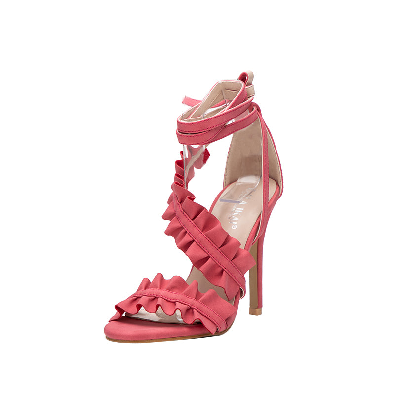 Ankle Strap High Heels Sandals Women Ruffles Sandals Summer shoes Solid Lace-Up - Style Lavish
