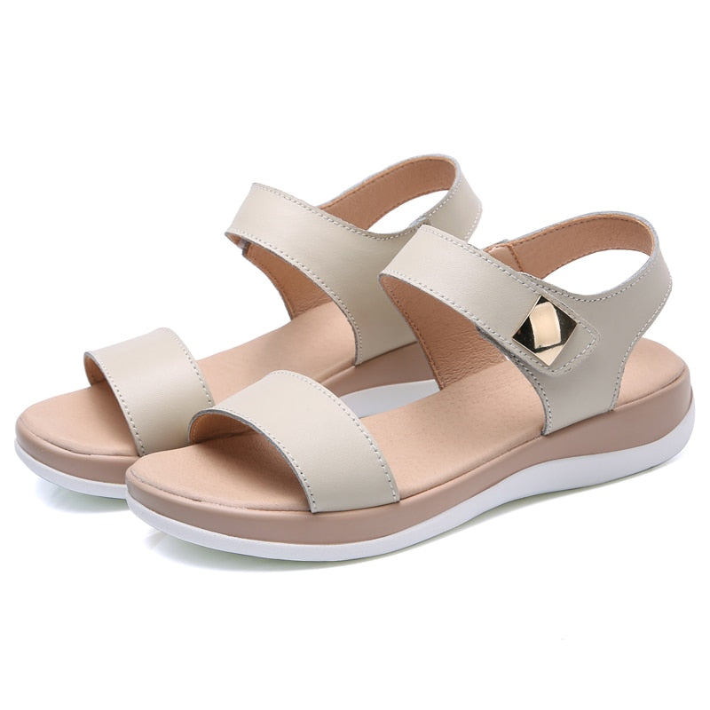 Flat Heels Sandals Shoes Women Genuine Leather T Strap basic Mam Sandals Casual Beach Sandals  Summer