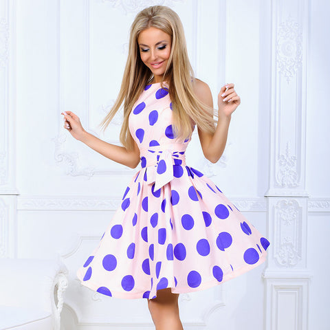 Summer Dress Women Fashion Vintage Dot Printing O-Neck Sleeveless Dresses A-Line Sweet Casual Beach Party Dress