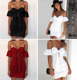 Off Shoulder Strapless Ruched Summer Dress Women Bow Knot Backless Mini Dress Short Sleeve Bodycon Bandage Dresses