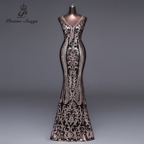 9ea80c75132 Double-V Long Evening Dress Sexy Backless Luxury Gold Sequin Formal Party  Dress Prom Gowns.  145.99.  44.99. What s New! Bandage Dress Winter Black  White ...