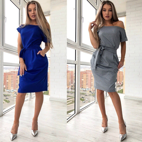 Fashion Women Slash neck Short Sleeve Dress Solid Casual Sashes Party Knee-Length Long Dresses