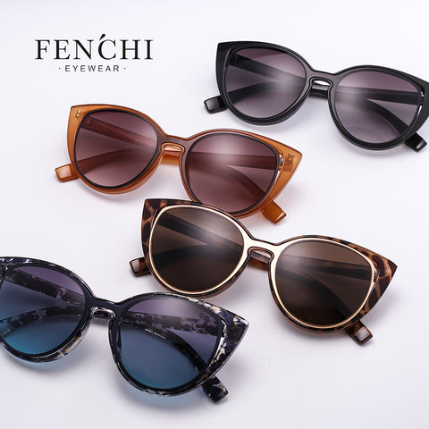 Fenchi fashion cat eye sunglasses women marketer retro pierced female cat ear sunglasses uv400 oculos de sol