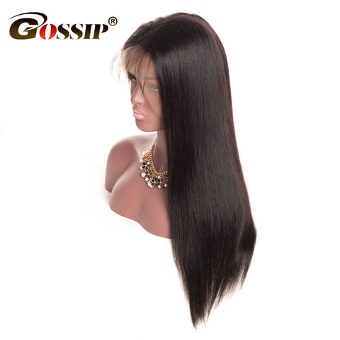 Gossip Full Lace Wigs Human Hair With Baby Hair Brazilian Straight Pre Plucked Full Lace Human Hair Wigs Glueless Full Lace Wigs