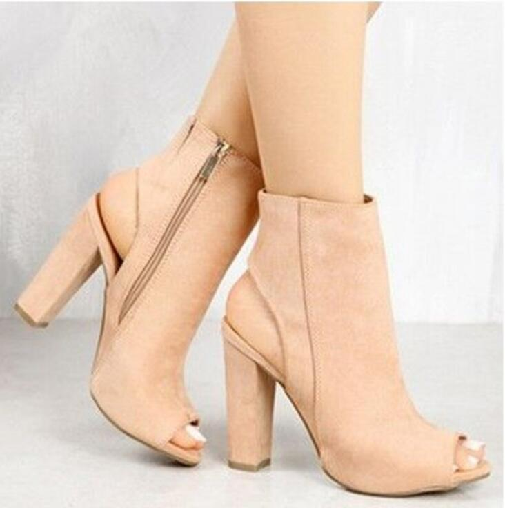 Fashion Women shoes Spring Summer Open Toe women Boots Casual Faux Suede Ankle Boots Thick High Heels Women Boots