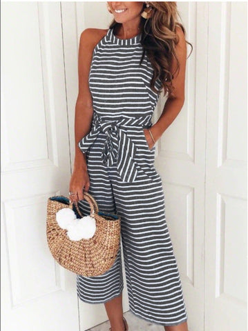 Striped Jumpsuit Women Sleeveless Bow Tie Wide Leg Loose Rompers Casual Office Beach Jumpsuit