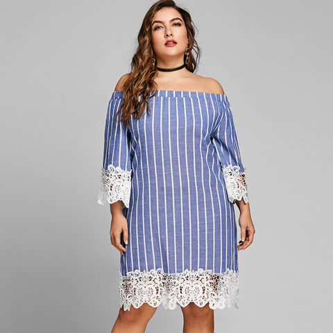 36e97f36af209 Blue Striped Lace Crochet Summer Long Sleeves Dress Sexy Off Shoulder Mini  Casual Dress