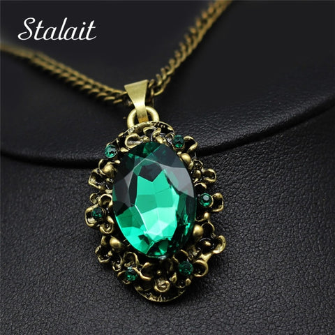 Queen Vintage Bronze Pattern Green Crystal Pendant Necklace Princess Royal Party Necklace Fashion Jewelry