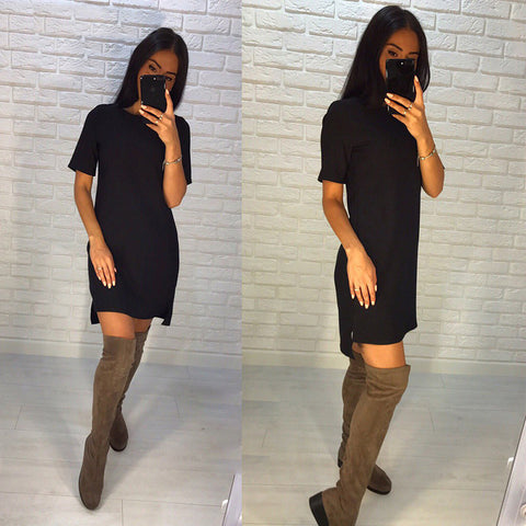 Summer Fashion Women Short Sleeve O-Neck Loose Dress Casual Asymmetric Straight Beach Dresses