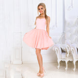 Summer Fashion Women Mesh Stitching Sweet Dresses Tube Top Sleeveless V Neck Back Hollow Dress Elegant Party dress