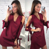 Women Summer Fashion  V-neck Long Sleeve Dress Casual Lantern Sleeve Bow Loose Dresses Straight Beach Dress