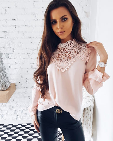 Summer Women Fashion Lace Long Sleeve Chiffon Shirts Casual Hollow Out Lace Blouse Elegant Loose Tops