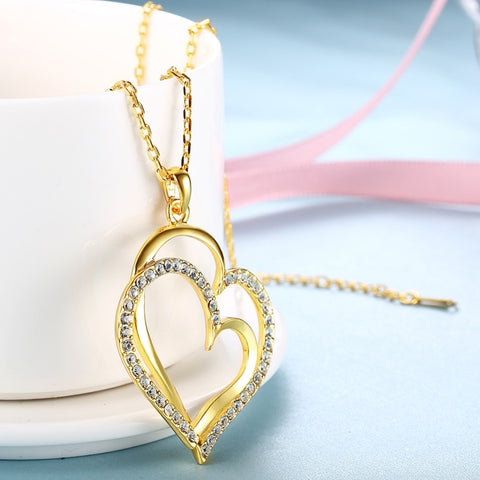 Fashion Double Heart Necklaces Pendants For Women Gold Color Austrian Crystal Zircon Love Lover Necklace Jewelry Colar