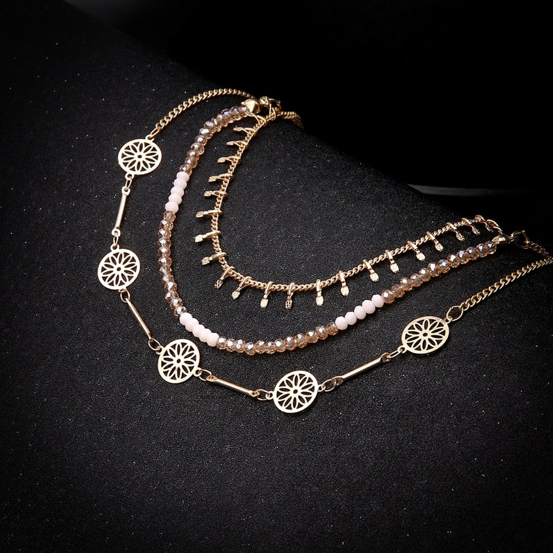Bohemia Beaded Choker Necklace Sets For Women Indian Metal Hollow Necklace & Pendants Jewelry