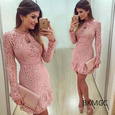 Women Fashion Casual Lace Dress O-Neck Sleeve Pink Evening Party Dresses Brasil Trend